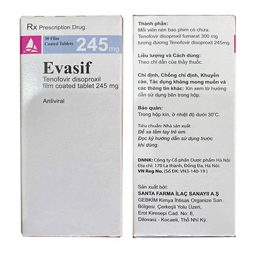Thuoc-Evasif-245mg-Tenofovir disoproxil-245mg-co-tac-dung-gì